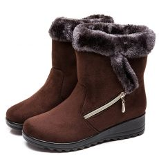 Women Boots Faux Suede Winter Boots Shoes Woman Wedges Heels Snow Boots