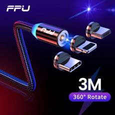 Fast Charging FPU 3m Magnetic Micro USB Cable For iPhone Samsung Android Mobile Phone
