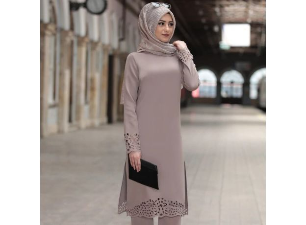 Turkey  women long top hollow solid clothing